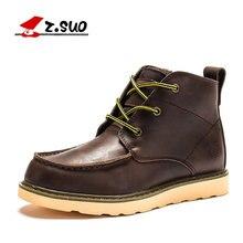 a71b99123 Z. suo Inverno Genuínos Homens De Couro Flats hombre botas Ankle Boots  Marrom Outono Ao