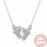 Baby Feet Pendant Necklace 925 Sterling Silver Mother Necklace Colar De Prata 2017 New Fashion Jewelry