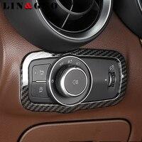 Car Carbon fiber Headlight Switch Frame Cover Stickers Internal Decoration for Alfa Romeo giulia Auto Accessories