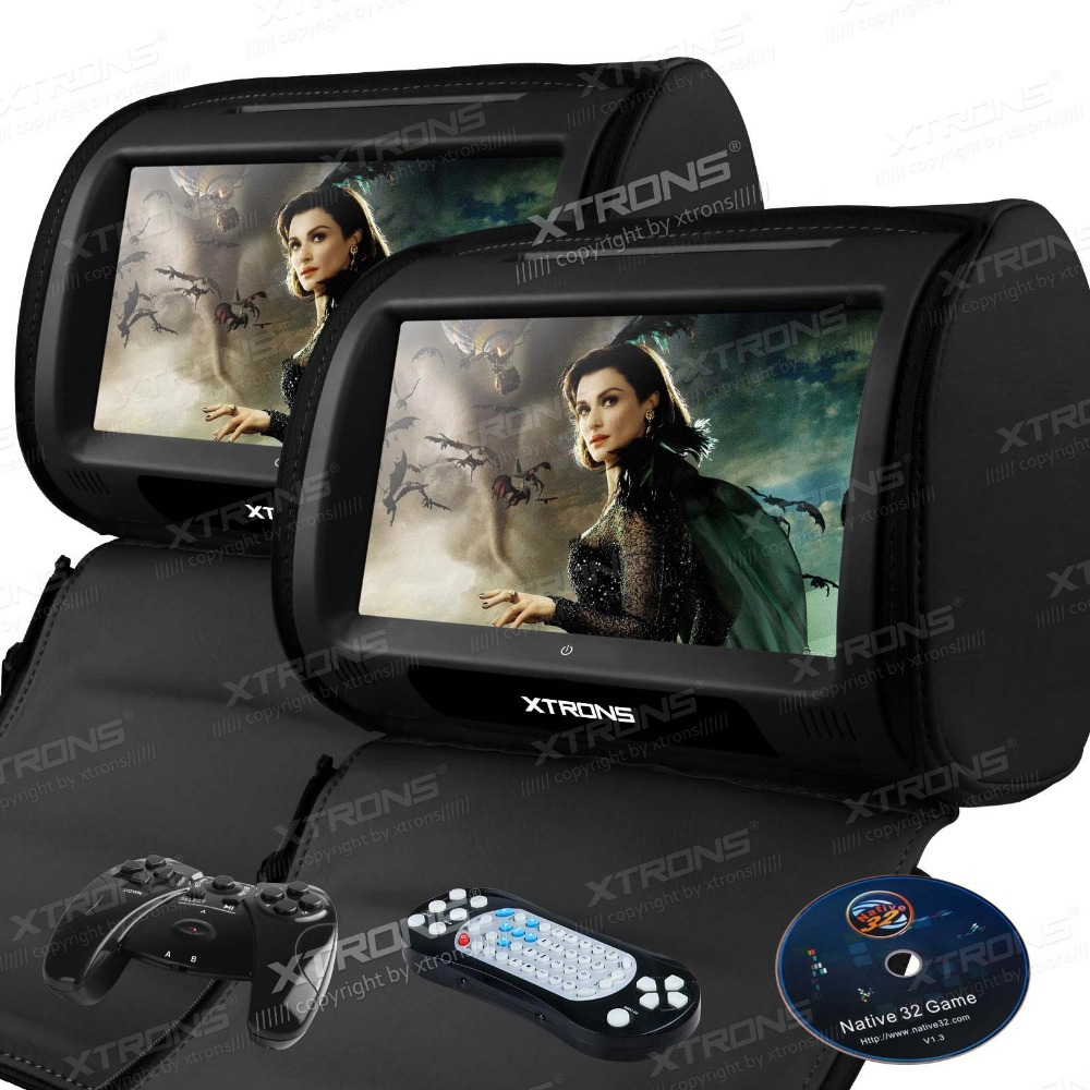 Black 2X 9 HD Stylish Headrest Touch Screen Car DVD Player Car Seat Pillow Monitor DVD USD SD FM IR Zipper Car stereo audio