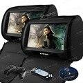 Negro 2X9 HD con estilo reposacabezas pantalla táctil reproductor de DVD del coche del asiento del coche Monitor DVD USD SD FM IR cremallera coche audio estéreo