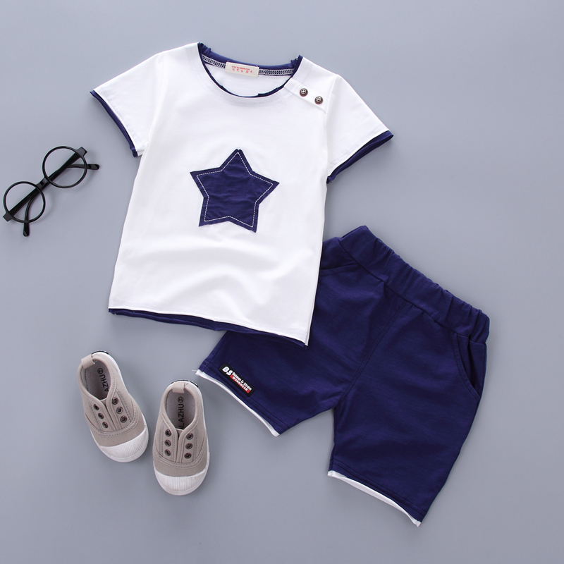 Boys clothing set 2018 Summer new fashion 100% cotton with five-star print for 1 2 3 Years old infant clothes 2pcs set A075 2017 liitokala 2pcs new protected for panasonic 18650 3400mah battery ncr18650b with original new pcb 3 7v