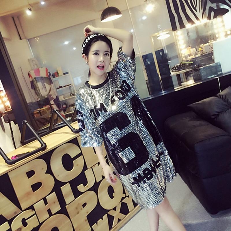 Women Nightclub DS t-shirts Sequined Female T-shirt Casual Best Friends Tees Long Shirt Girls Poleras Mujer Dance Jazz Costume