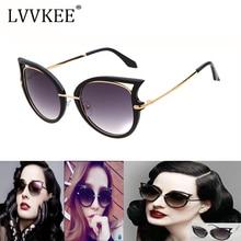 2018 new fashion cat's eye super black lady Sunglasses Women Metal Frame Vintage