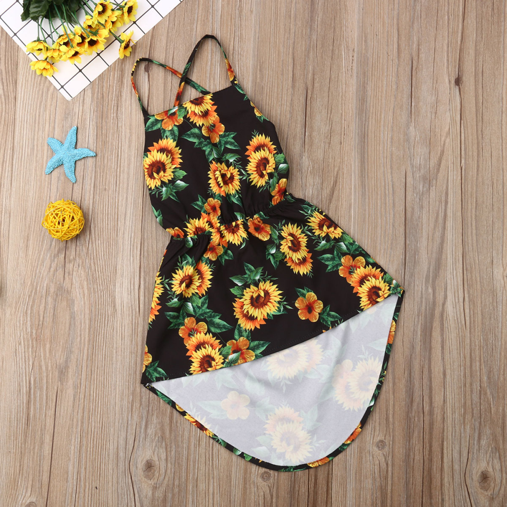 Kids Baby Girl Summer Dress Backless Sunflower Print Party Pageant Dress Sundress 1-6Y
