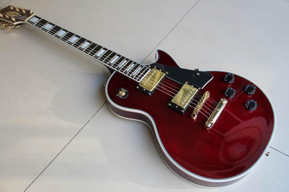 Wholesale New 1960 LP Custom VOS Electric Guitar Ebony Fretboard In Wine 120110 new arrival lp custom electric guitar with tonepros ebony fretboard flamed maple top