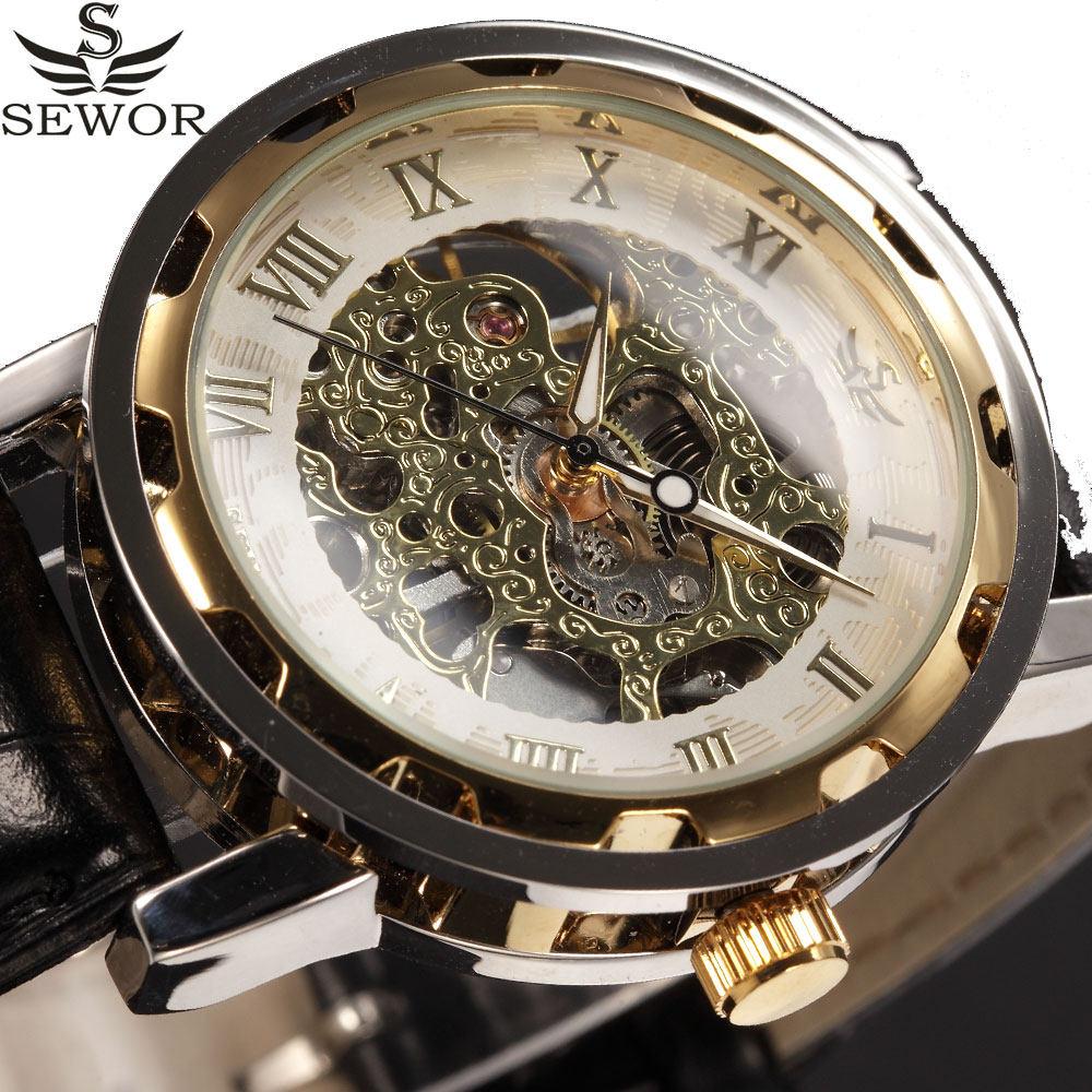 693c40e2881 SEWOR Relógio Mecânico Dos Homens de Negócios de Moda Do Vintage De Couro  Ouro Transparente Skeleton