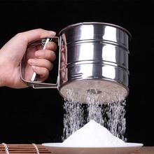 Herramientas de cocina de acero inoxidable malla de harina Sifter mecánica  de hornear azúcar Shaker taza 35b22727f3e9