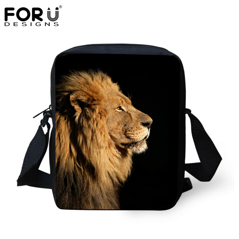 FORUDESIGNS Cool Animal Lion Printed Handbags For Children Boys Brand Designer Kids Mini Crossbody Bags Casual Shoulder Bookbags