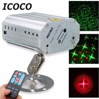 ICOCO Voice Control Music Rhythm Flash Light LED Laser Projector Stage Light DJ Disco Club Outdoor Indoor Dancing Party Ballroom
