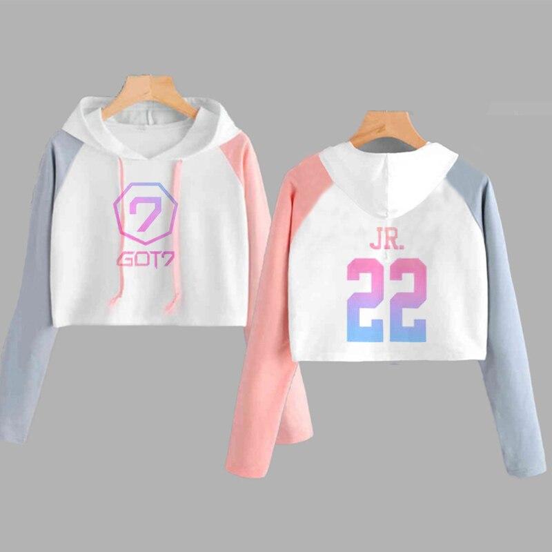 Crop Hoodie Women Got 7 Kpop JB Jackson Long Sleeve Hooded Sweatshirt Got7 Printed Pink Cropped Top Harajuku Womens Clothing
