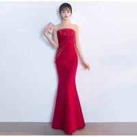 Mermaid Long Formal Dress Evening Gown Sexy Strapless Backless Floor Length Long Dress Elegant Red Gown Vestido De Festa Longo