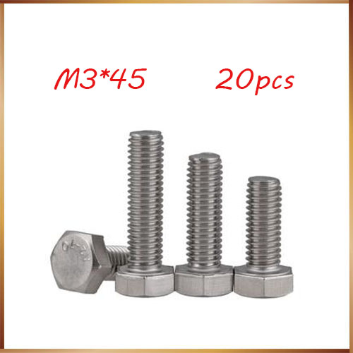 20pcs <font><b>M3</b></font> <font><b>45mm</b></font> <font><b>M3</b></font>*<font><b>45mm</b></font> 304 Stainless Steel SS DIN933 Full Thread HEX Hexagon Head Screw <font><b>m3</b></font> screws image