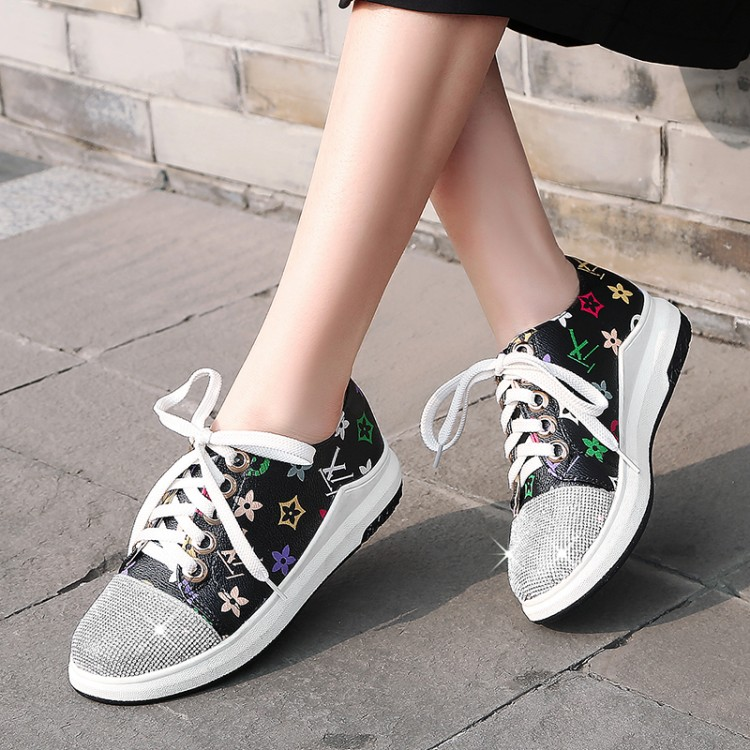 US4-11 Womens Printed Rhinestones Crystal Decor Mixed Color Lace Up Sneaker Flats Girls Shoes Casual Sport Plus Size Black White