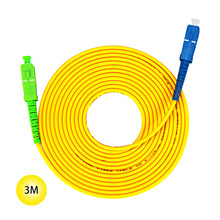 SC-APC to SC-UPC 9/125 Singlemode Fiber Patch Cable 3M Jumper Cable 9 Microns APC/UPC Polish Yellow Jacket OFNR Fiber Cable sommer cable sc goblin white