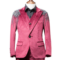 Baby Kids Blazers Gold velvet Suit for Prom Daily Casual Jacket Wine red Celebrity Boy Shoulder Epaulette Outfit