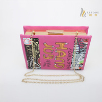 Book shaped women's clutch bags leather European and American Style chain messenger bags handbags hasp small designer sac a main