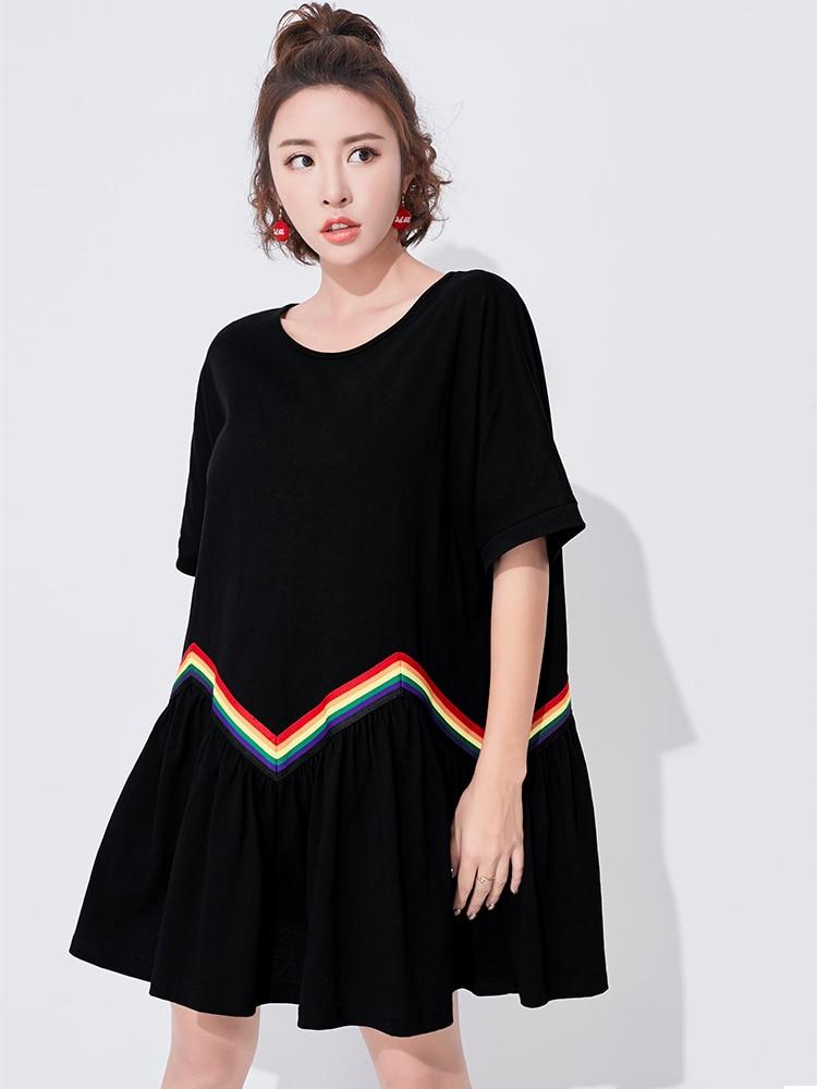 VGH Women Ruffles Dress 2018 Patchwork Rainbow Striped Short Sleeve Black Batwing Sleeve Woman Dress Summer New