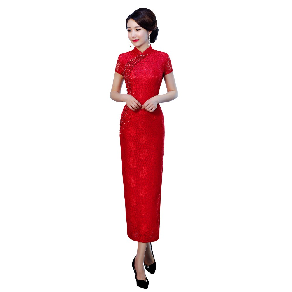 Shanghai Story Chinese Traditional Dress Short Sleeve Long Qipao For Women Beaded Lace Cheongsam Dress 3 Color