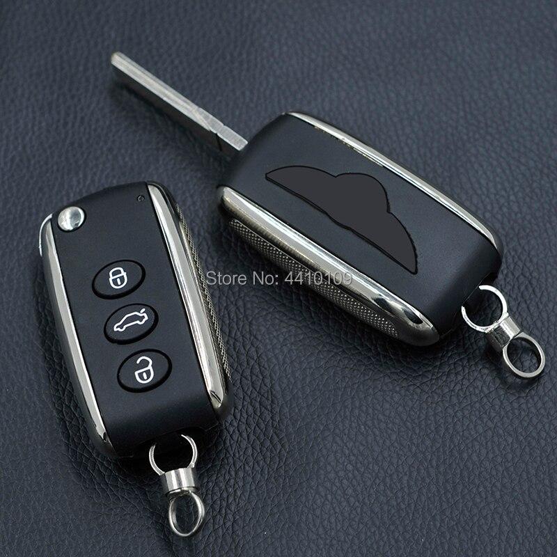 Coque de clé à distance pliable à 3 boutons pour Bentley Mulsanne Hurtling GT coque de clé de voiture automatique avec Logo