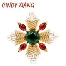 Винтажная женская брошь в форме креста CINDY XIANG, украшение в стиле барокко в форме креста с жемчугом и бусинами на пальто, жакет, идея для подарка