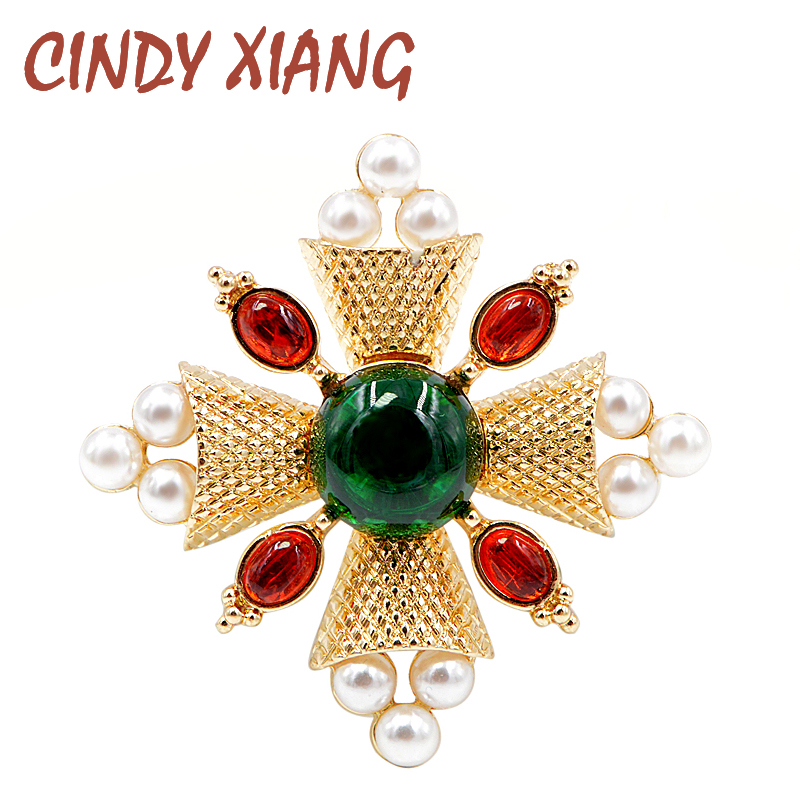 CINDY XIANG New Arrival 2018 Fashion Pearl Baroque Brooches Pin Cross Brooches for Women Coat Accessories Vintage Jewelry Gift|Brooches| - AliExpress