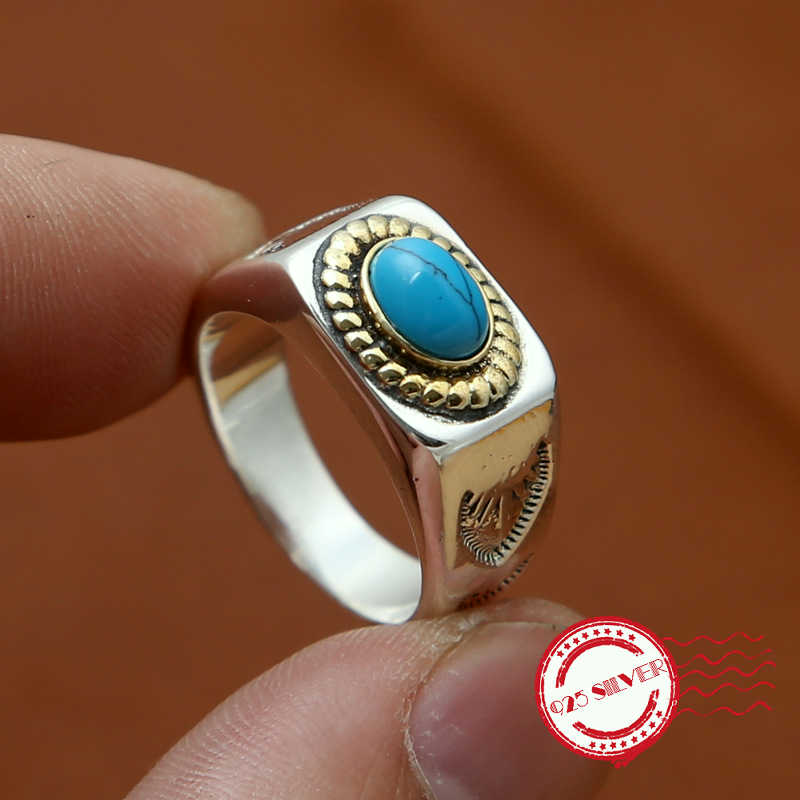 S925 sterling silver men's ring jewelry handmade retro personalized fashion style inlaid turquoise shape 2018 new gift to send retro fake turquoise multilayered toe ring anklet