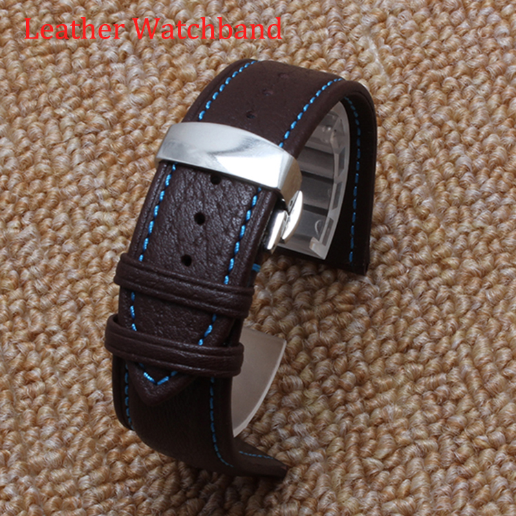 New arrival Watch Strap Bracelets Fashion Sport Watch Men Brown Band Watchbands Steel Clasp Blue line 20|22mm Butterfly buckle new arrival princess butterfly austrian crystal leather band white tone watch fashion girl luxury diamond butterfly watch