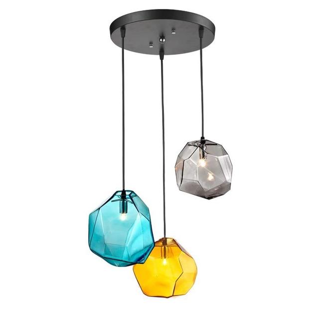 Modern Creative 3pcs Crystal Glass Pendant Lighting Ice Cube Pendant Lamp  Polygon Glass Grey Yellow Blue