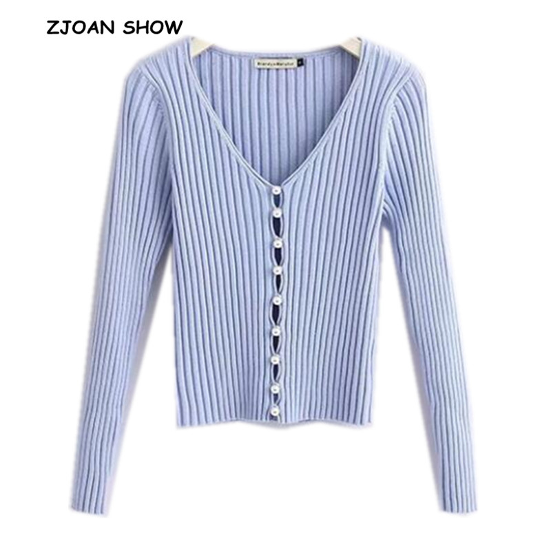2019 Spring New Stylish Knitting Single Breasted Pearl Cardigan Sweater Woman Deep V-neck Long Sleeve Jumper kleding jerseis clothes hanger