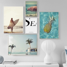 Girl Surfboard Pineapple Beach Seascape Wall Art Canvas Painting Nordic Posters And Prints Pictures For Living Room Decor