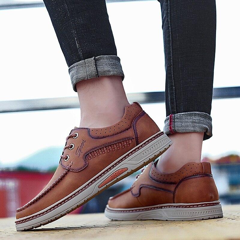 Новое поступление 2018 г. весенне осенняя повседневная обувь из микрофибры мужские водонепроницаемые деловые туфли оксфорды на плоской подошве размер 38 44, два цвета, 5 - 5