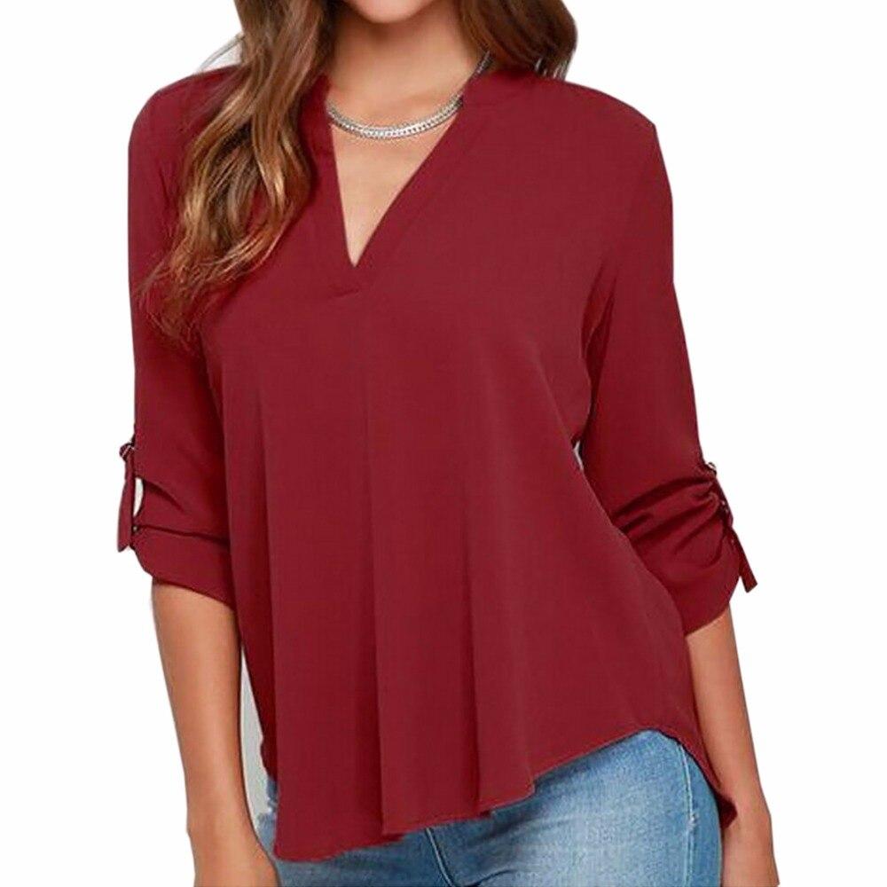 2017 Brand Summer 3 4 Sleeve Blouse Shirt Chiffon Women Sexy Simple Casual Lady Plus Size