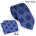 Tailor Smith Polka Dot Blue Necktie Hanky Cufflink Set Pure Silk Jacquard Tie Pocket Square Fashion Formal Business Men Neckwear