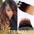 3 Пучки T1B/4/27 Блондинка Человеческих Волос Шелковистая Прямая Человеческих Волос Weave С 13x4 кружева Фронтальная Закрытие 4 Шт./лот Ткачество