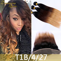 3 Bundles T1B/4/27 Blonde Human Hair Extensions Silky Straight Human Hair Weave With 13x4 Lace Frontal Closure 4PCS/Lot Weaving