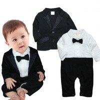 Spring Autumn Baby Boy Clothing Set Gentleman Cravat Baby Romper Outerwear Coat 2pcs Baby Set Infant