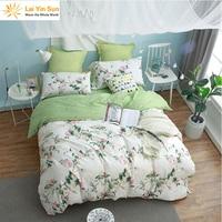 Lai Yin Güneş nevresim Yastık Kılıfı Avrupa 100% Pamuk yatak Set Tam Çift kraliçe PEMBE Baskı Yeşil küçük çiçek
