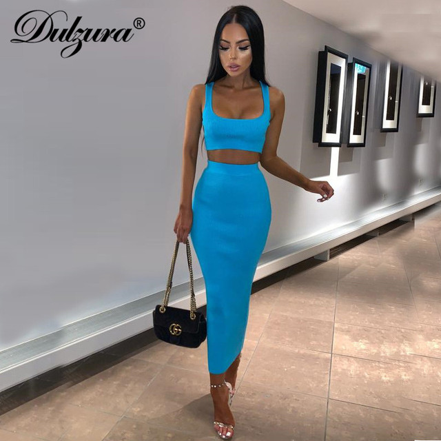 Dulzura neon ribbed knitted women two piece matching co ord set crop top midi skirt sexy festival party 2019 winter clothing 4