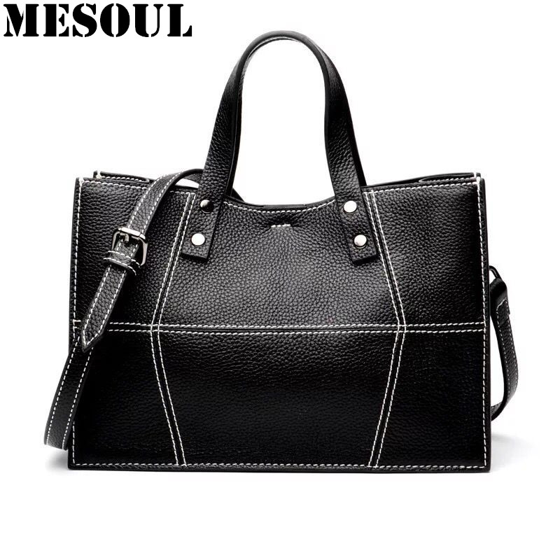 MESOUL Casual Tote Handbags Women Bags Genuine Leather Shoulder Bags For Ladies Crossbody Bag Bolsos Mujer 2017 New Arrivals mesoul chain bag women genuine leather shoulder bags vintage party evening bag handbag crossbody small mini flap bag ladies tote