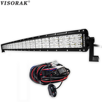 VISORAK 7D 42 inch 400W OffRoad LED Light Bar 12V 24V LED Beams Cross DRL Combo Work Light For Tractor 4WD 4x4 Truck SUV ATV