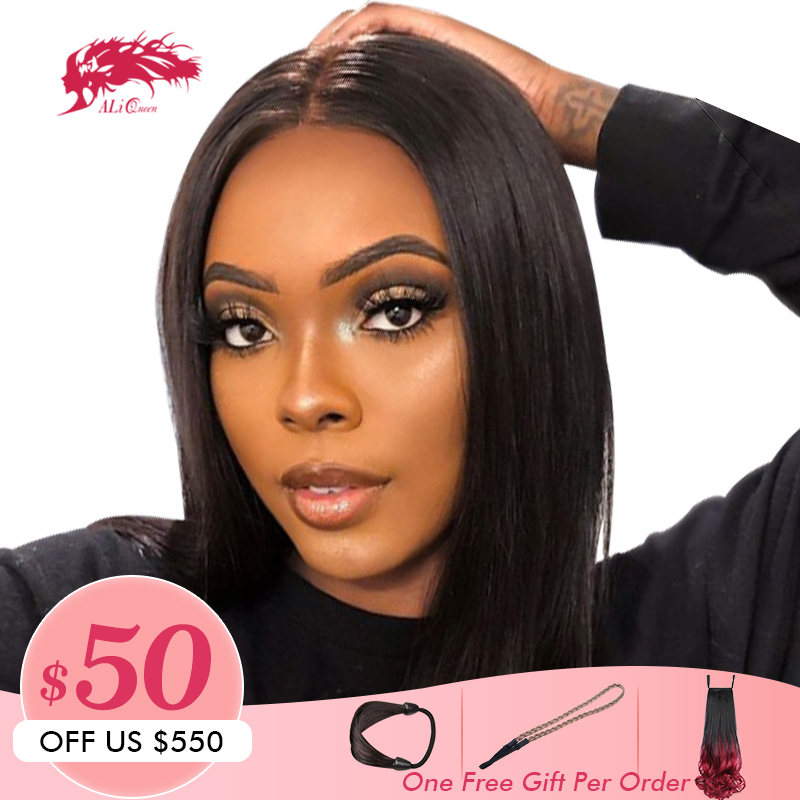 Brazilian Remy Hair Part Lace Wigs 130% Density Middle Part #1B/#613 Short Human Hair Wigs Ali Queen Hair L Part Lace Wig