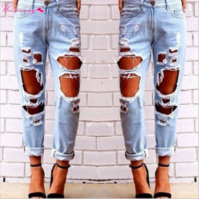 Boyfriend Jeans Pants Bottom Clothing Summer Trousers Casual Pants Hole Sexy Women Torn Distressed Wrecked Slim Pants Jeans colorful brand large size jeans xl 5xl 2017 spring and summer new hole jeans nine pants high waist was thin slim pants