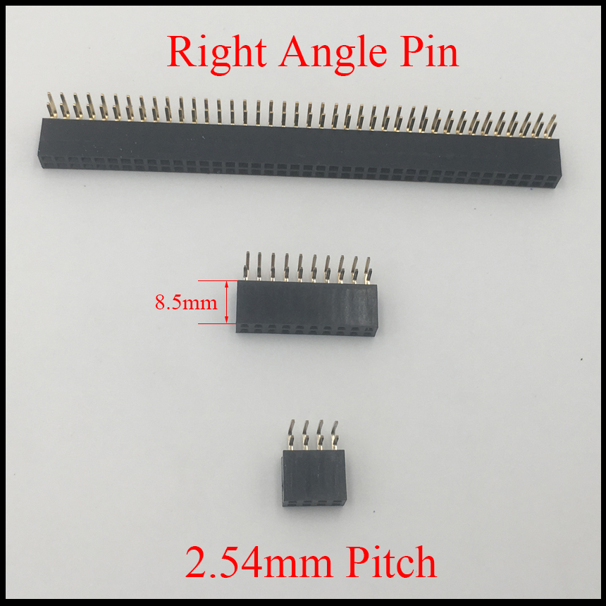 2*2 2x2 2*3 2x3 2*4 2x4 Pin 4P 6P 8P 2.54mm Pitch Space 8.5mm Height Female Connector Double Row Right Angle Pin Header Strip
