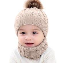 b4570b978 2 piezas conjunto invierno Beanie Cap bufanda conjunto niño niños sombrero  bebé chica círculo lazo bufanda