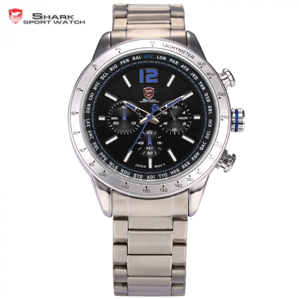 Pacific Angel Shark Sport Watch 24 Hrs Chronograph Luminous Black Blue Clock Full Steel Band Water Resistant Men Watches / SH318