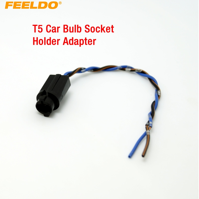 FEELDO 2Pcs <font><b>T5</b></font> Auto Led-lampe Sockel Halter <font><b>Adapter</b></font> Harness Stecker # AM3816 image