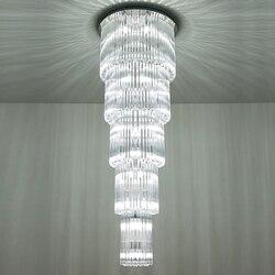 Wielowarstwowe nowoczesna kryształowa żyrandol AC110V 220v długie schody oprawy oświetleniowe  luksusowe projekty oświetlenia