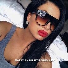 Flat Top Sunglasses Retro Women Luxury Brand Sun Glasses Gradient Blak