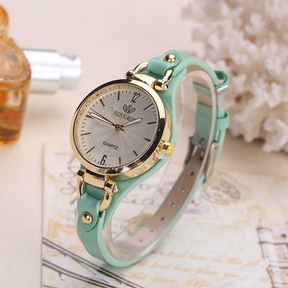 цена на Women Casual Watches Round Dial Rivet PU Leather Strap Wristwatch Ladies Analog Quartz Watch Gift LL@17